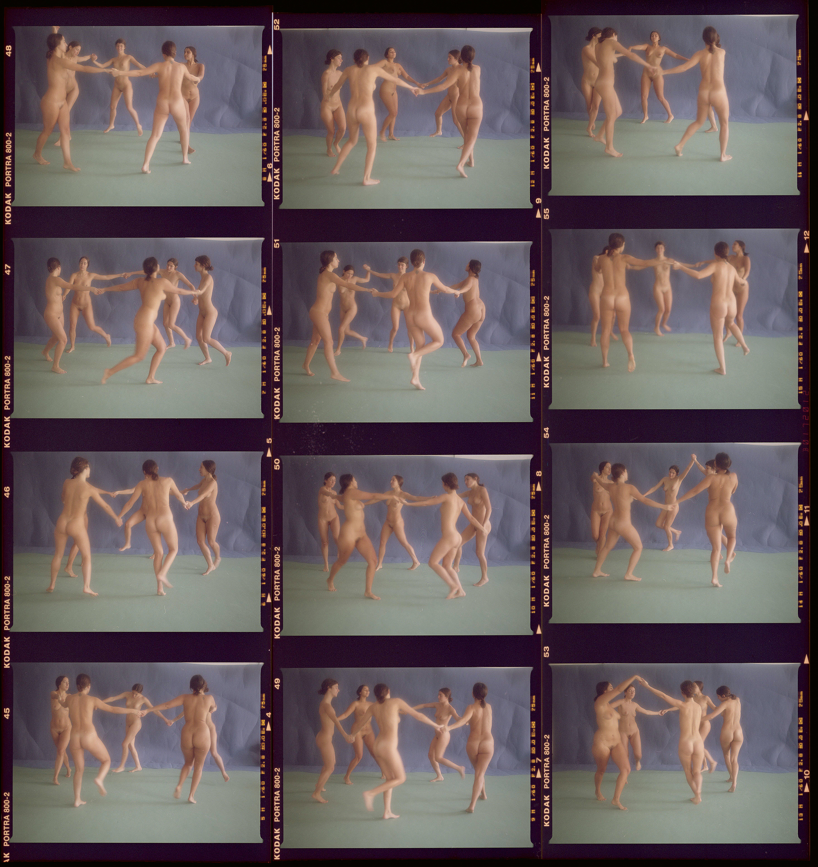 A group of women dancing in a contact sheet that resembles a Matisse painting