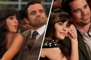 """Zooey Deschanel as Jessica Day gives a surprise face as Jake Johnson as Nick Miller looks awkward. And Zooey Deschanel as Jessica Day leans on the shoulder of David Walton as Sam Sweeney. Both pictures are from the show """"New Girl."""""""
