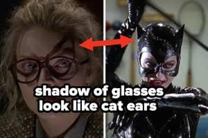 米歇尔·法伊弗饰演的猫女塞琳娜·凯尔戴着一副眼镜,脸上留下了猫一样的影子