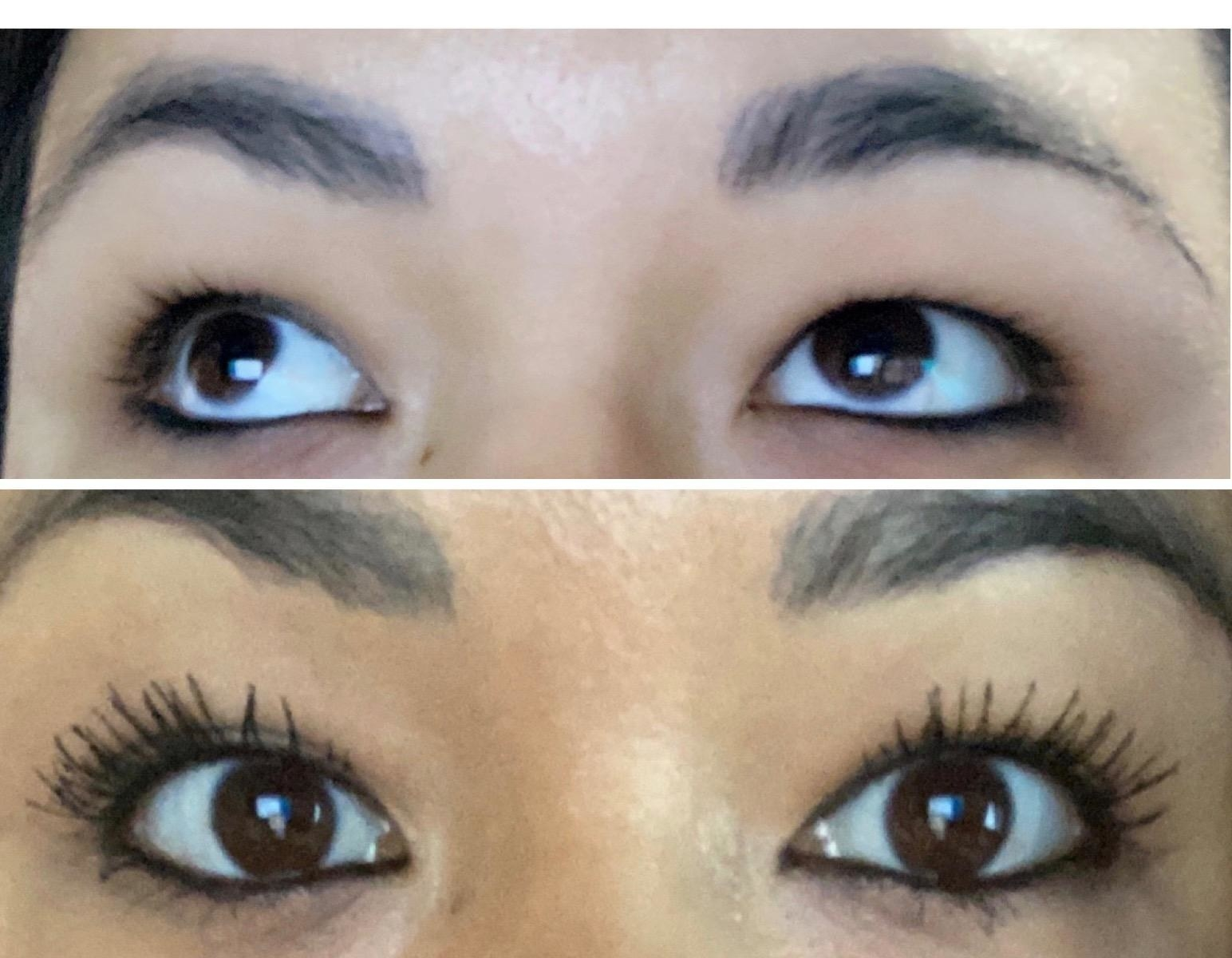 reviewer's before and after of their lashes having much more length and volume after using the mascara