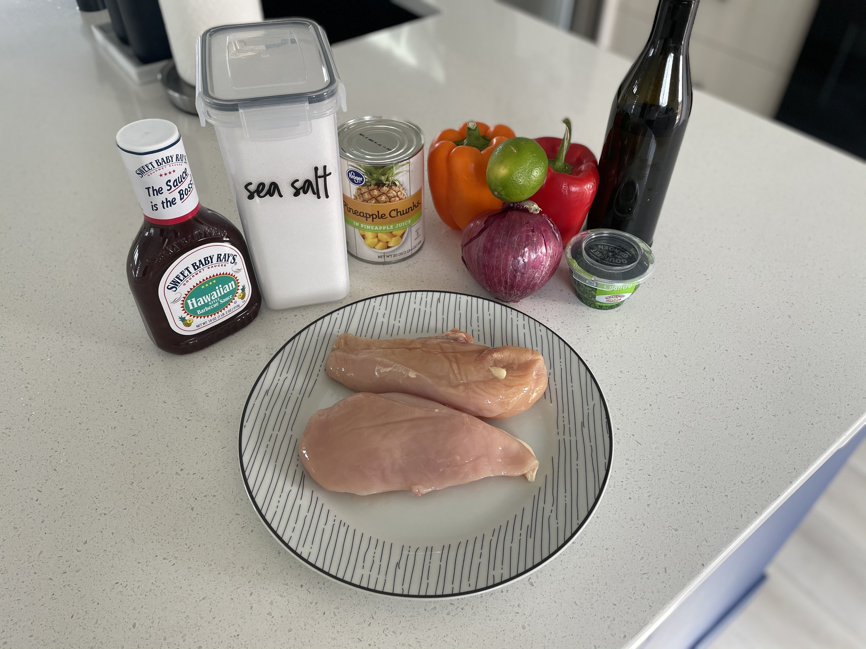 Ingredients for sheet pan Hawaiian chicken