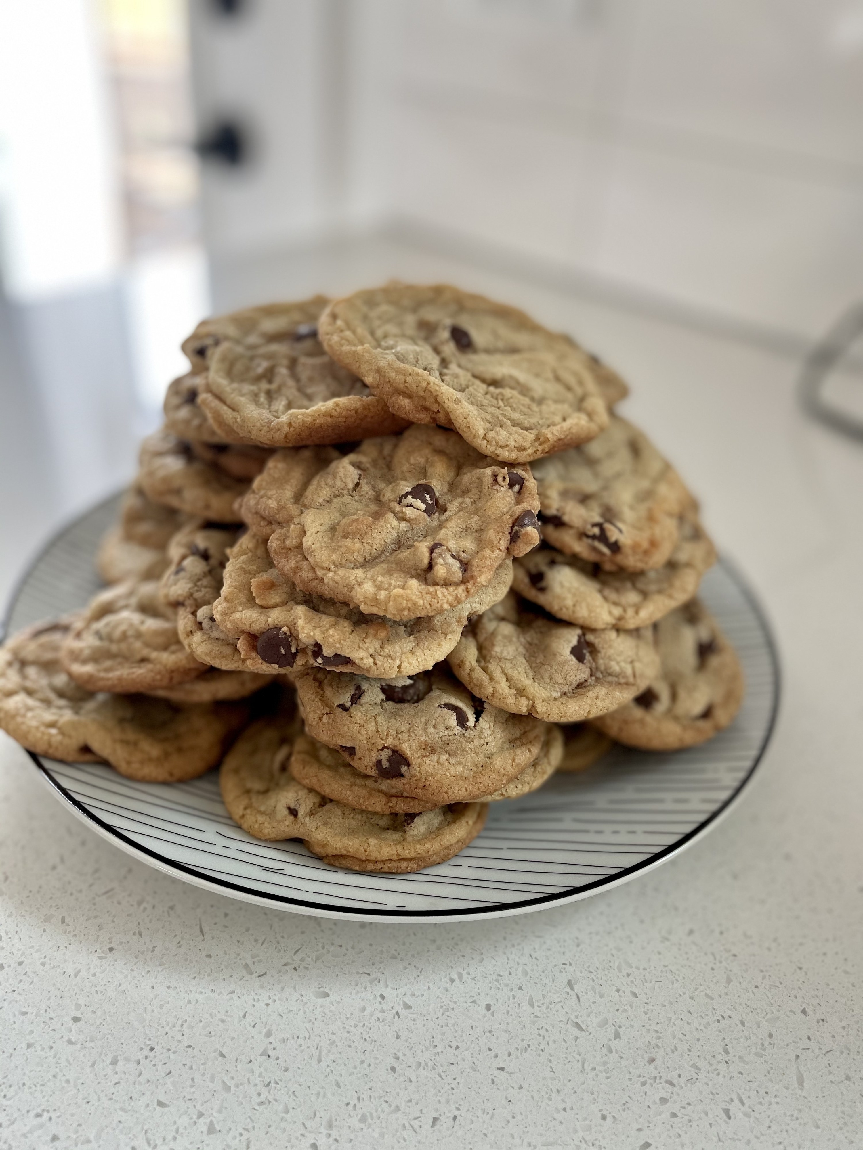 Chocolate chip cookies plated