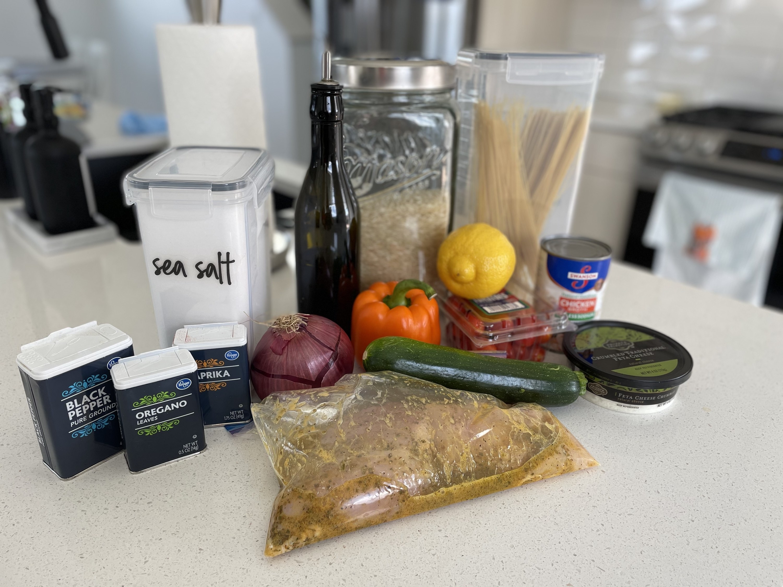 Ingredients for Greek chicken bowls