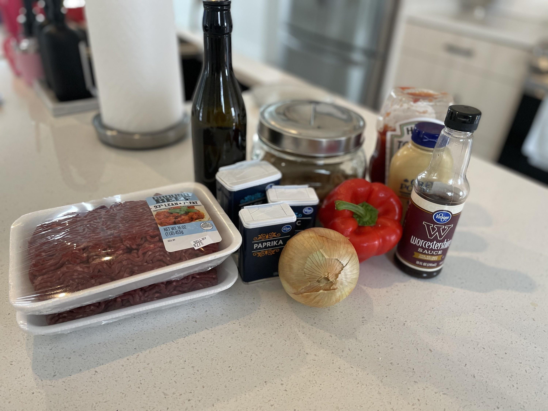Ingredients for sloppy joes