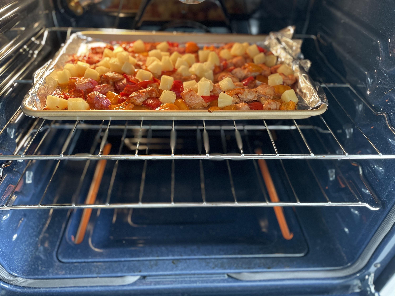 Sheet pan Hawaiian chicken in the oven