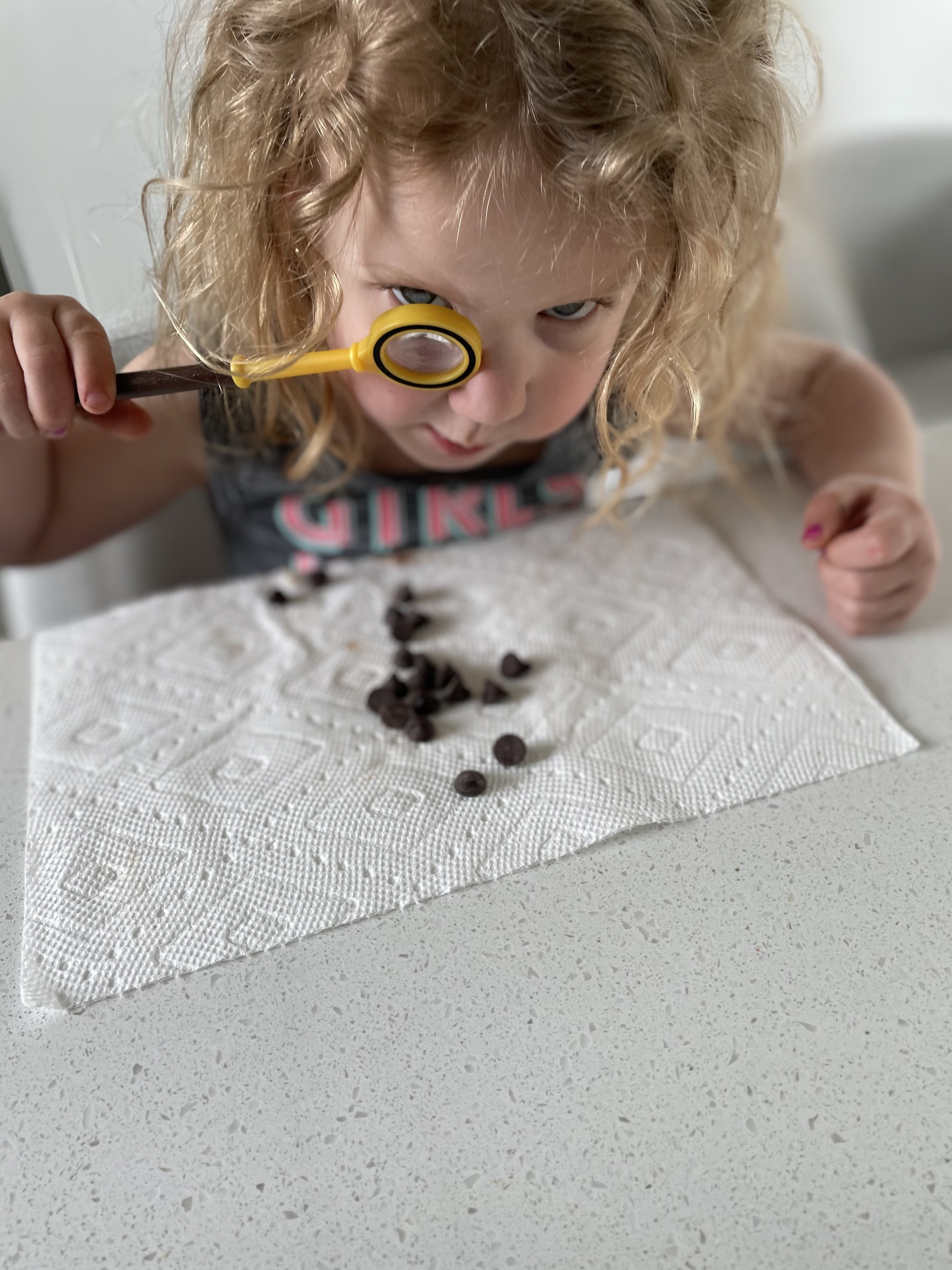 The author's daughter inspecting chocolate chips