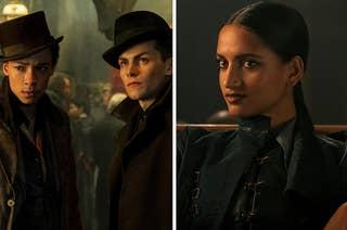 Jesper, Kaz, and Inej from Shadow and Bone