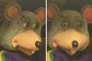 """查克E.奶酪animatronic老鼠看起来震惊""""class="""