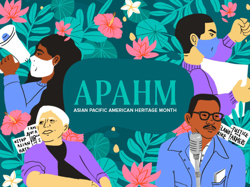 A drawing of four Asian Americans sharing their voices in front of a tropical flower backdrop