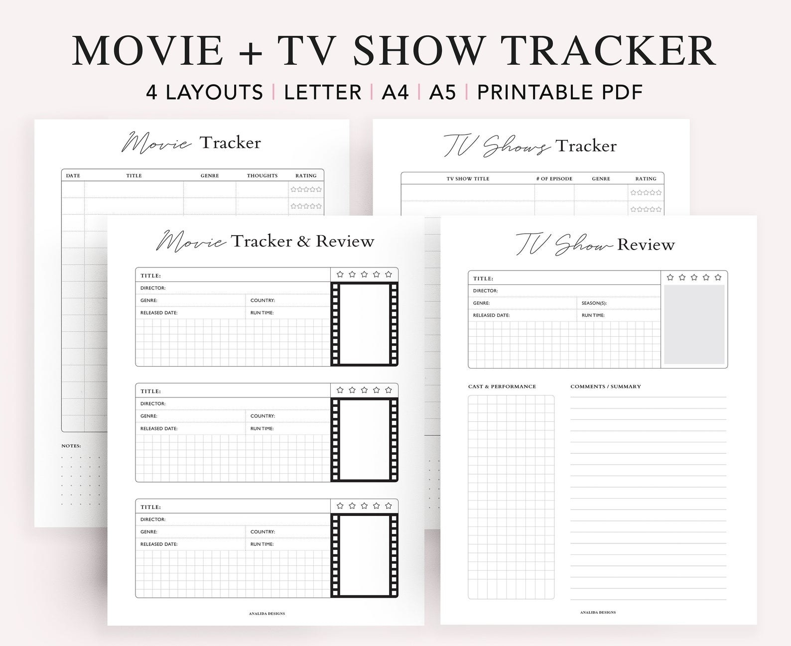 four printable pages with spots for listing movies and tv shows and reviewing movies and tv shows