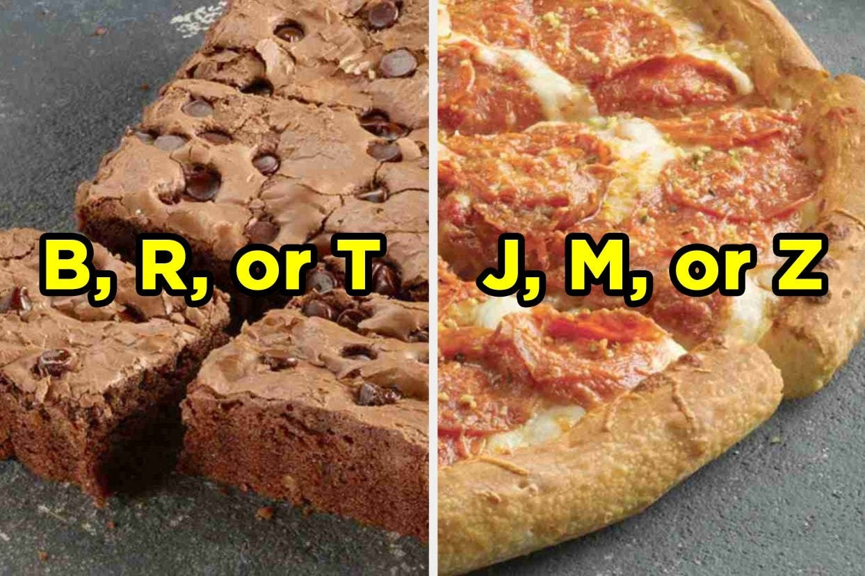 Chocolate chip cookie pizza with letters B, R, and T, and pepperoni pizza with letters J, M, and Z