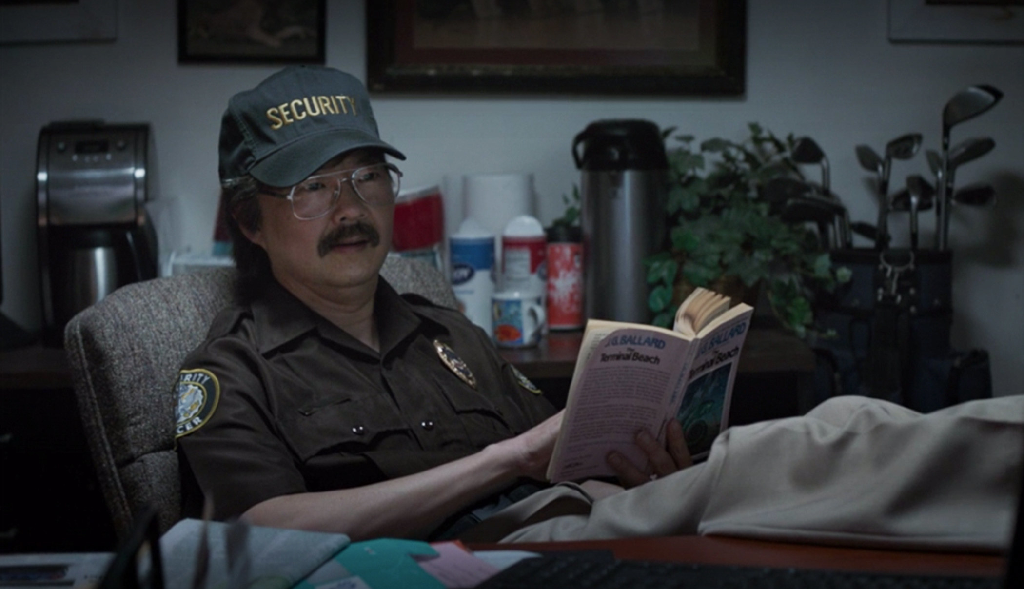He played a very chill guard who read at his desk