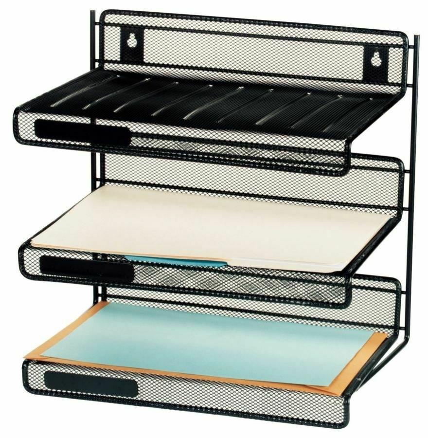 the three-tier black mesh desk shelves