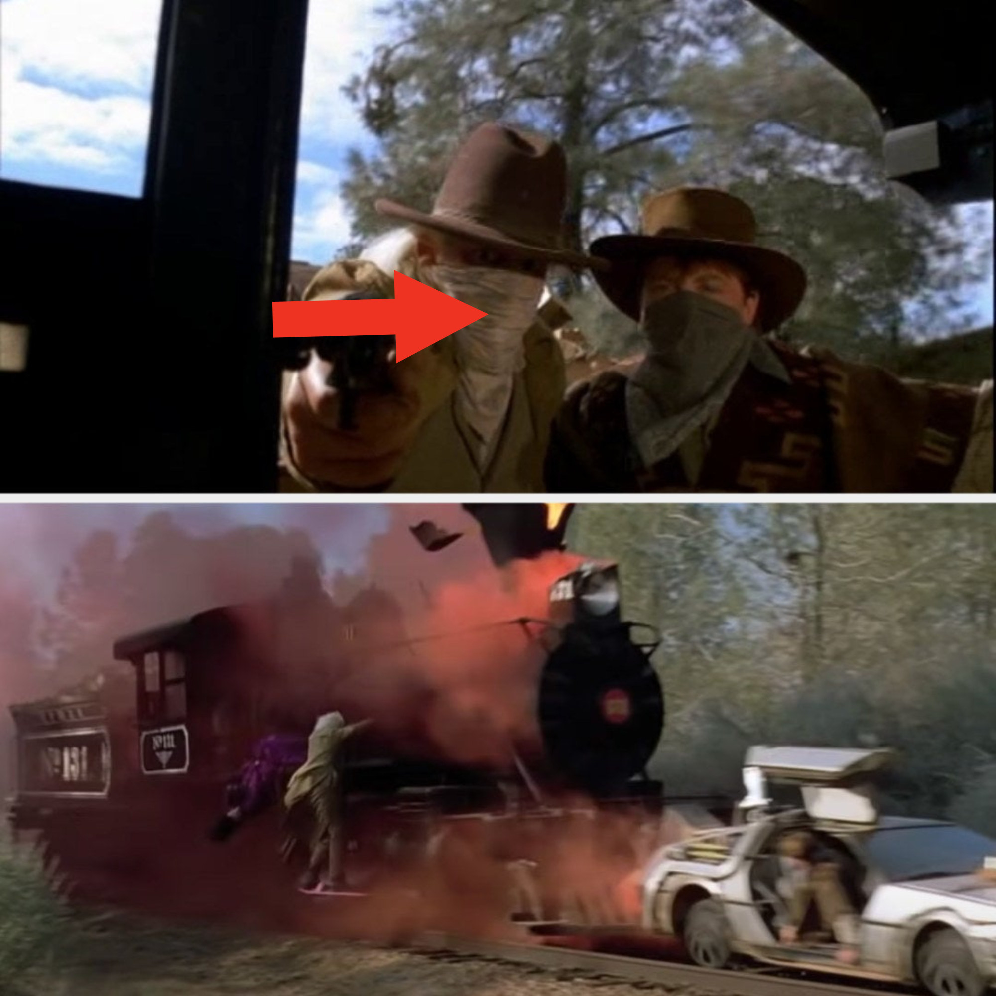 Doc and Marty dressed like cowboys and chasing after a train