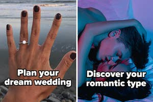 """Plan your dream wedding"" and ""Discover your romantic type"""
