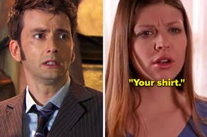 """The Tenth Doctor from Doctor Who crying and Tara from Buffy the Vampire Slayer saying, """"Your shirt"""""""