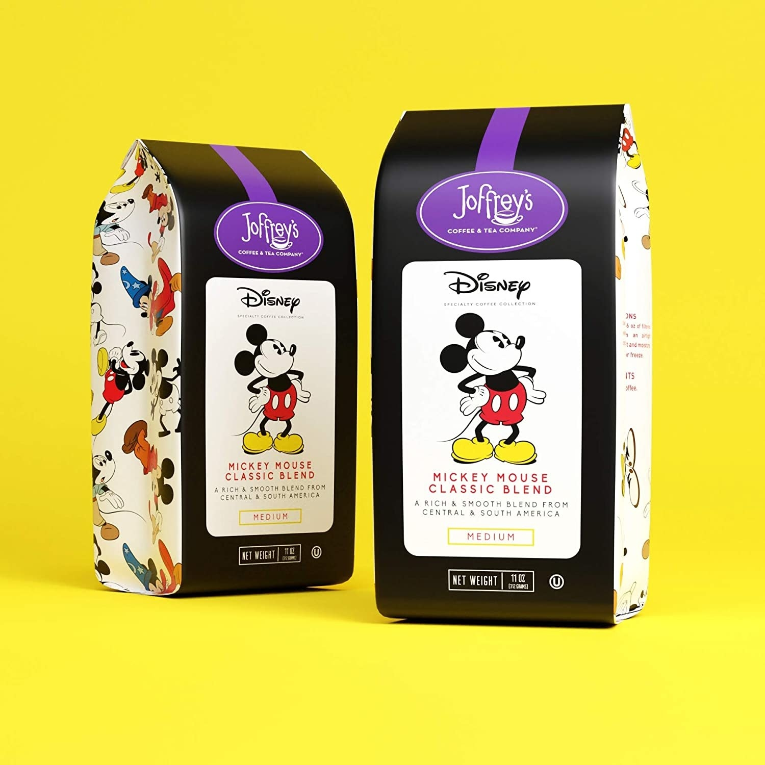 two bags of coffee with mickey on the packaging