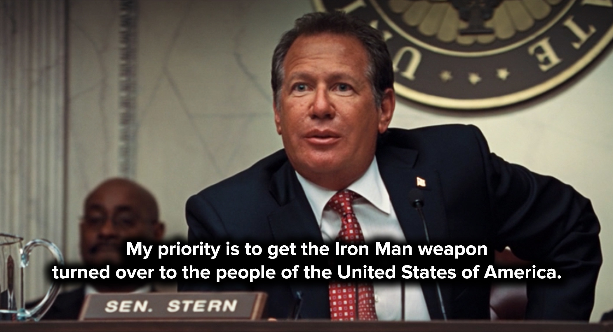 Senator Stern demands Tony turn over the Iron Man suit to the US government