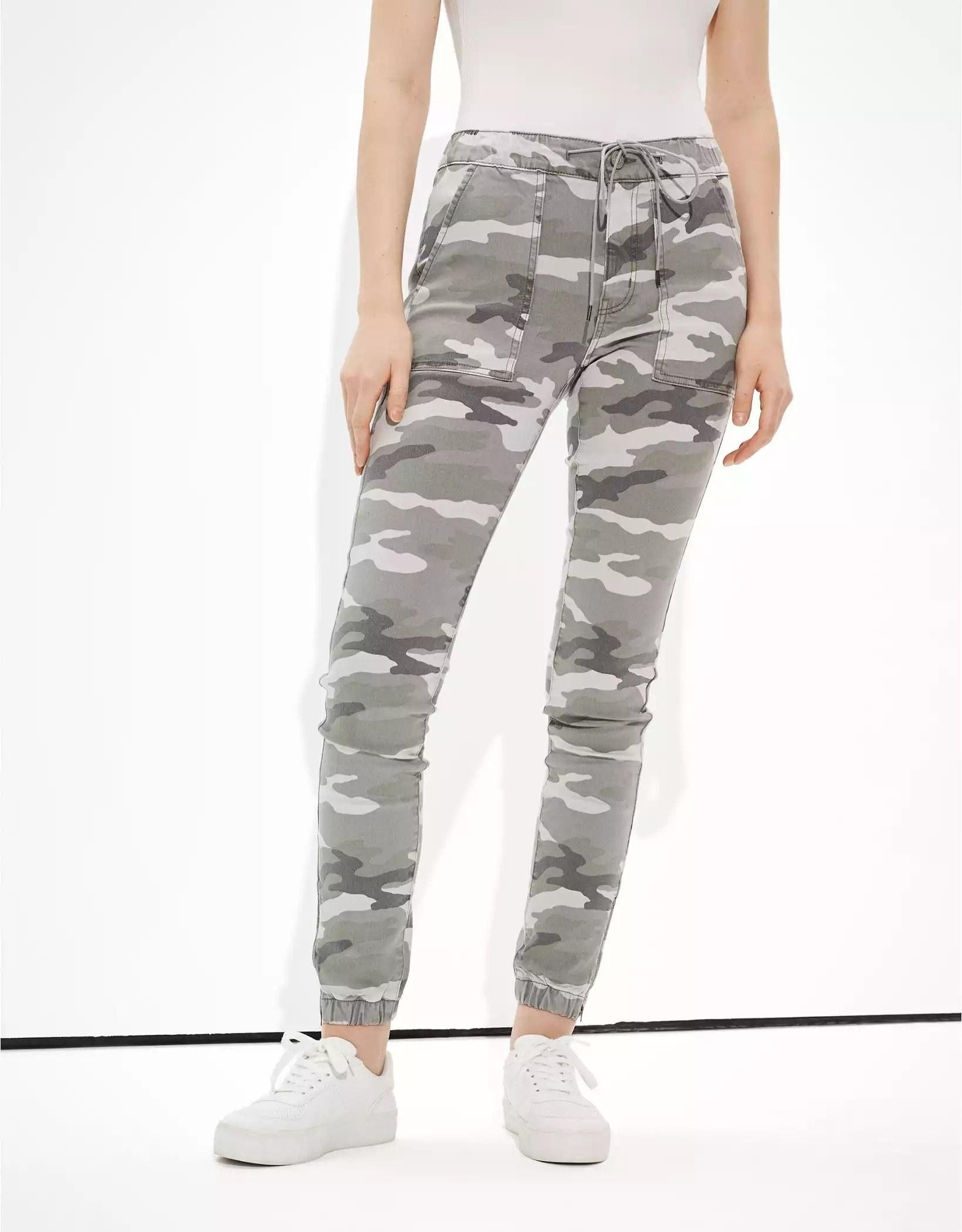 Model wearing camo pants
