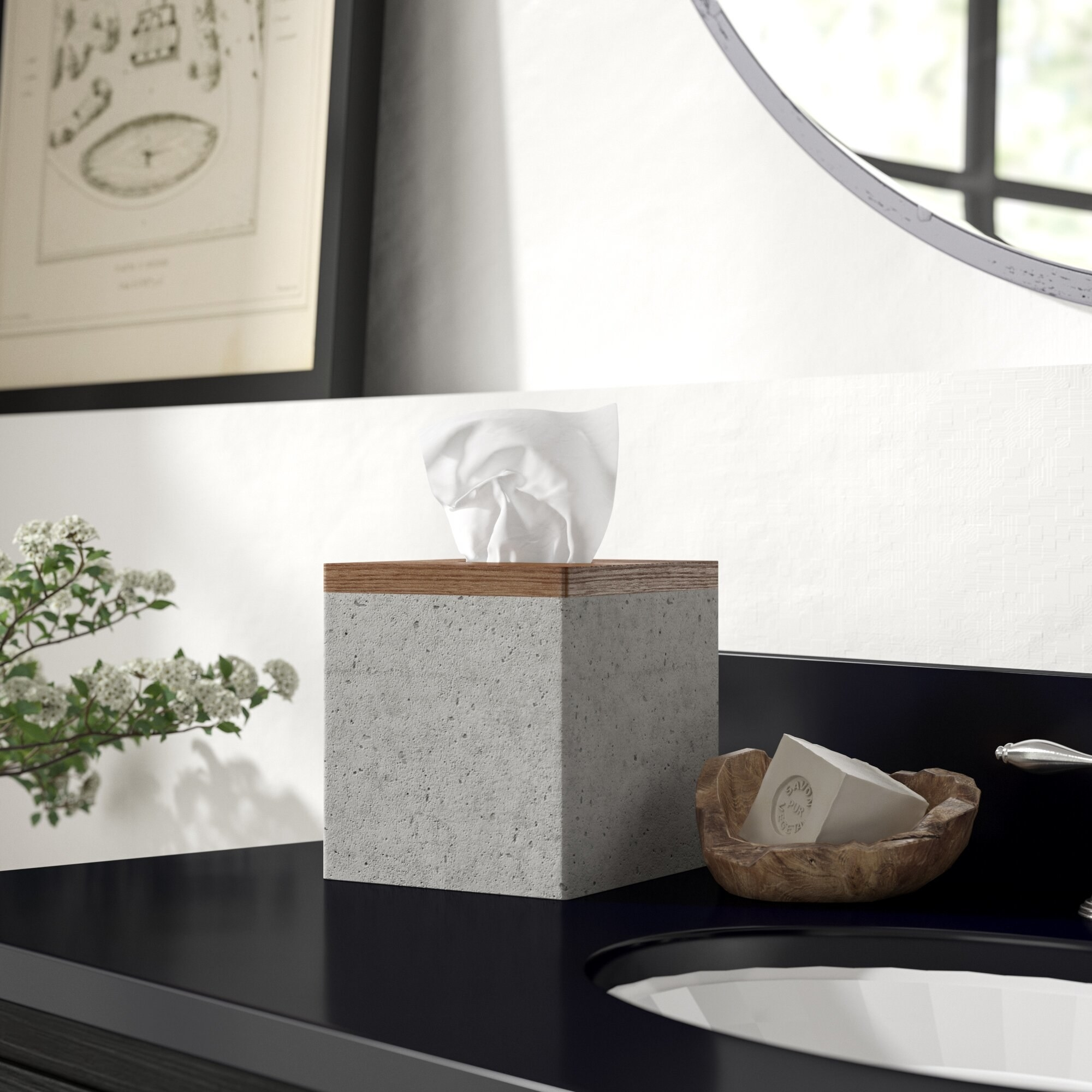 the tissue box cover on the counter