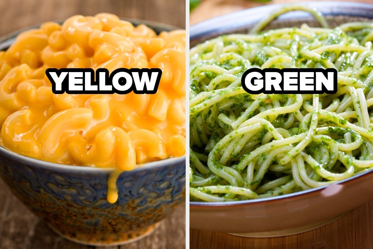 """Mac and cheese with the word """"Yellow"""" and pesto pasta with the word """"Green"""""""