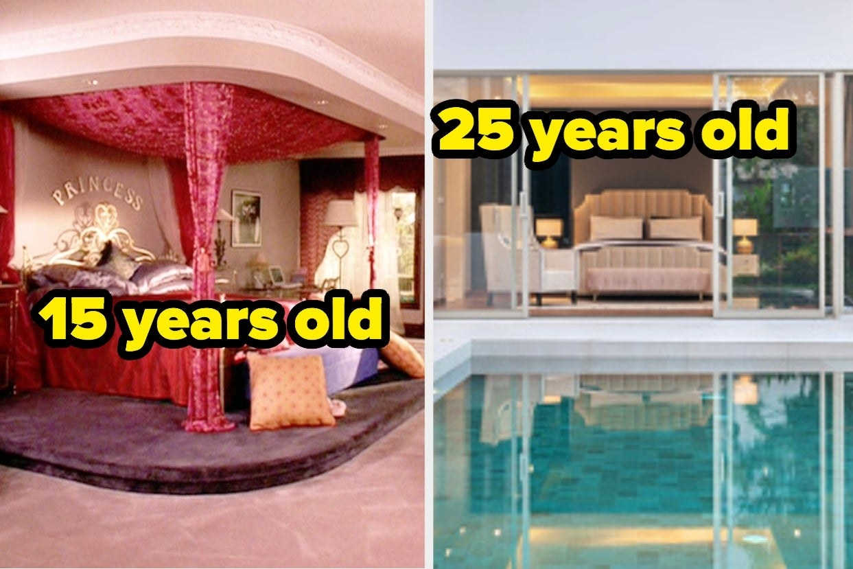 """Bedroom from """"Mean Girls"""" with words """"15 Years Old"""" and Bedroom overlooking pool with words """"25 years old"""""""