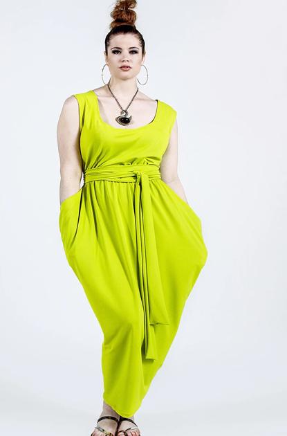 neon green dress with scoop neck and tie waist