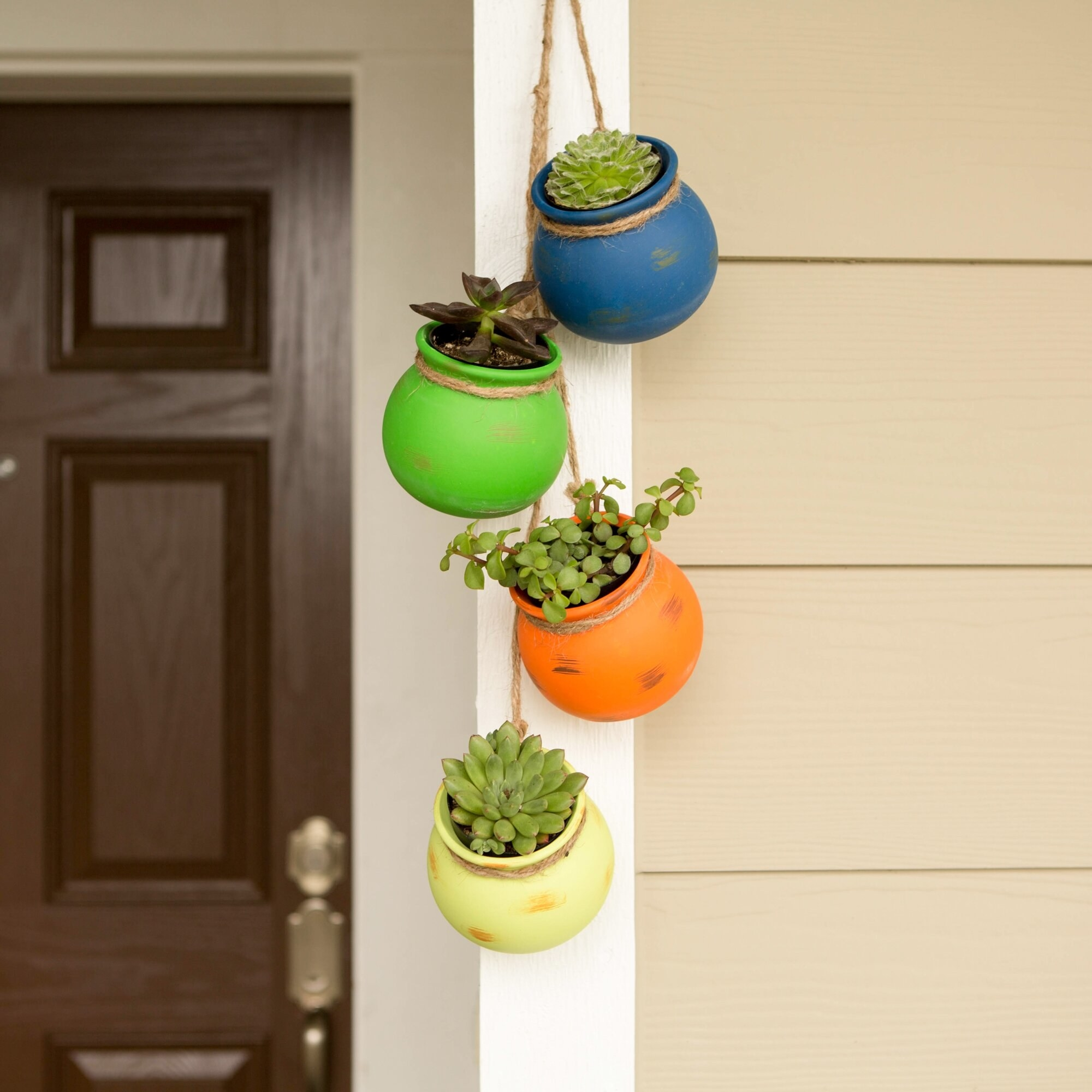 The potted plants hanging on the porch