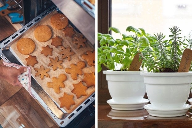 Cookies being baked and herbs in a pot