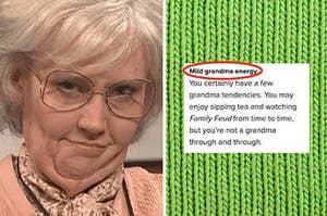 "Kate McKinnon as an old woman, next to ""Mild grandma energy"" result text"