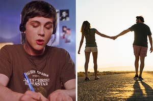 """On the left, Charlie from """"The Perks of Being a Wallflower"""" singing along to music on his headphones, and on the right, a couple holding hands as they walk down a road at sunset"""