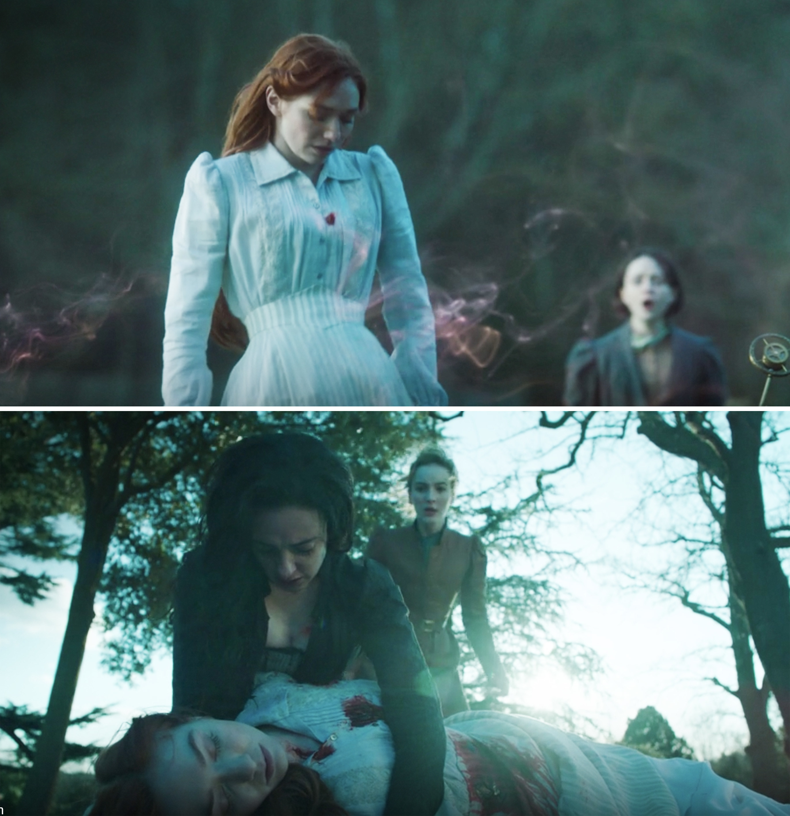 Amalia holding Mary's body after she's been shot