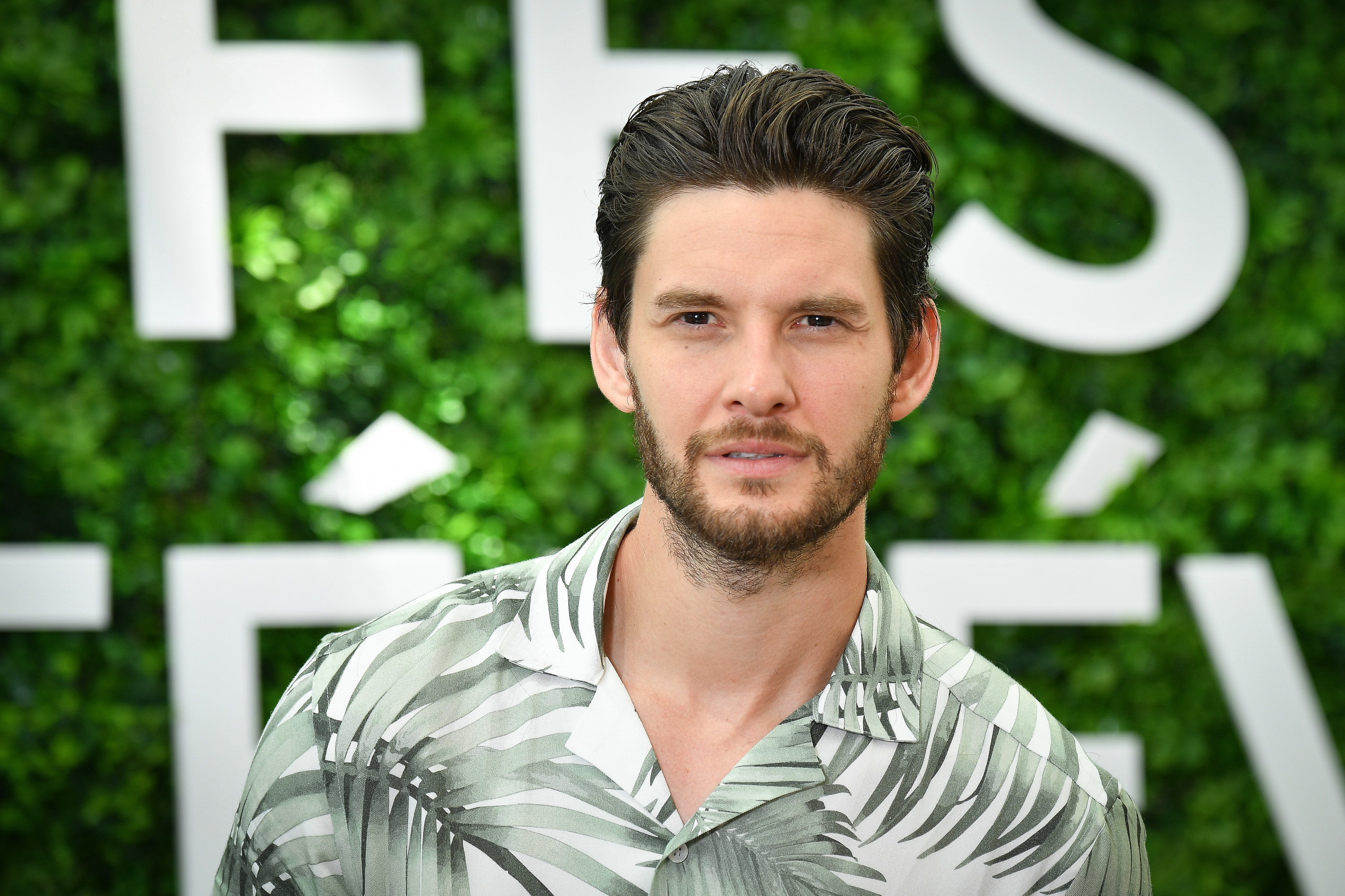Ben Barnes in palm frond printed shirt