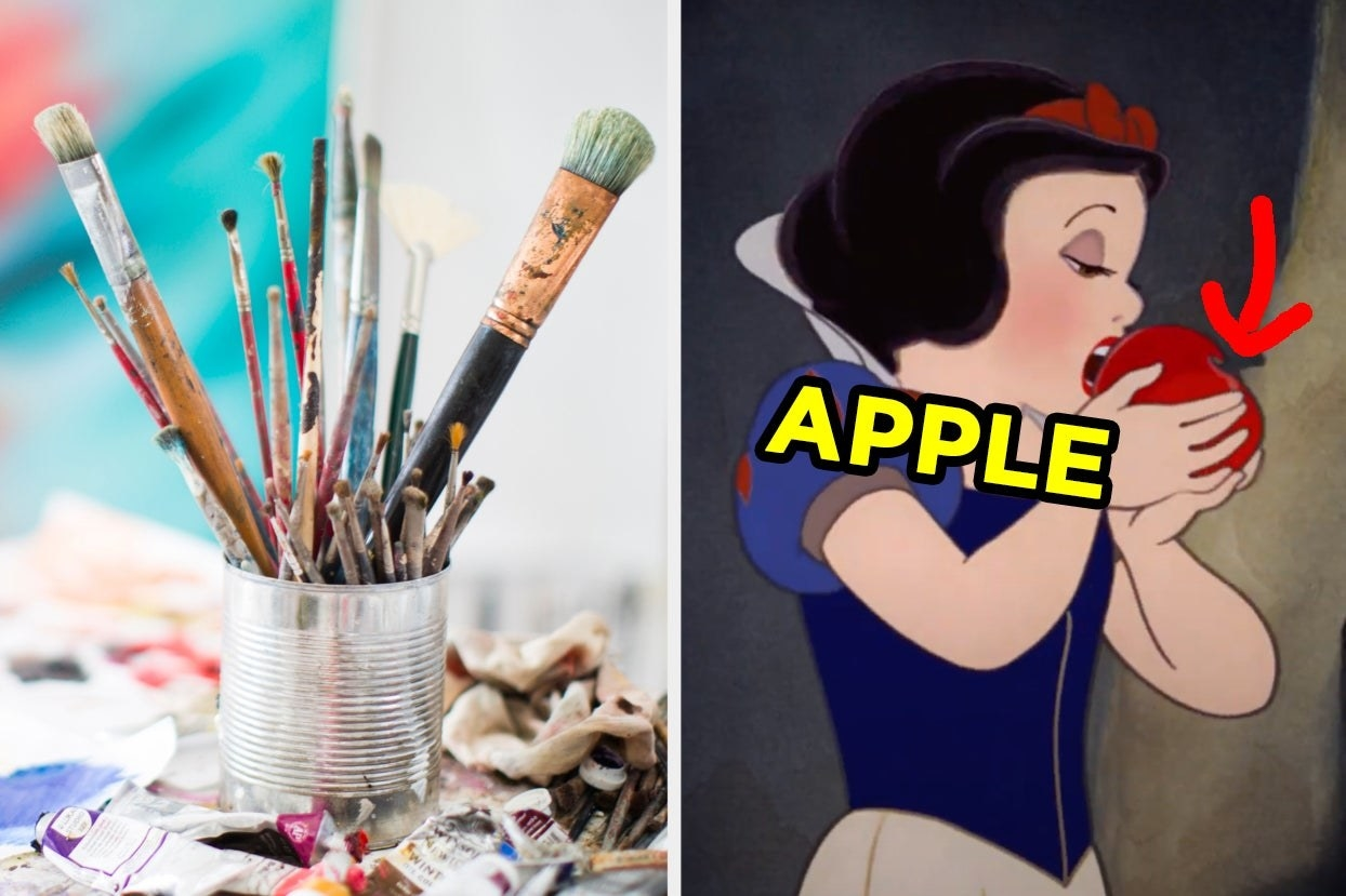 Paint brushes and Snow White eating an apple