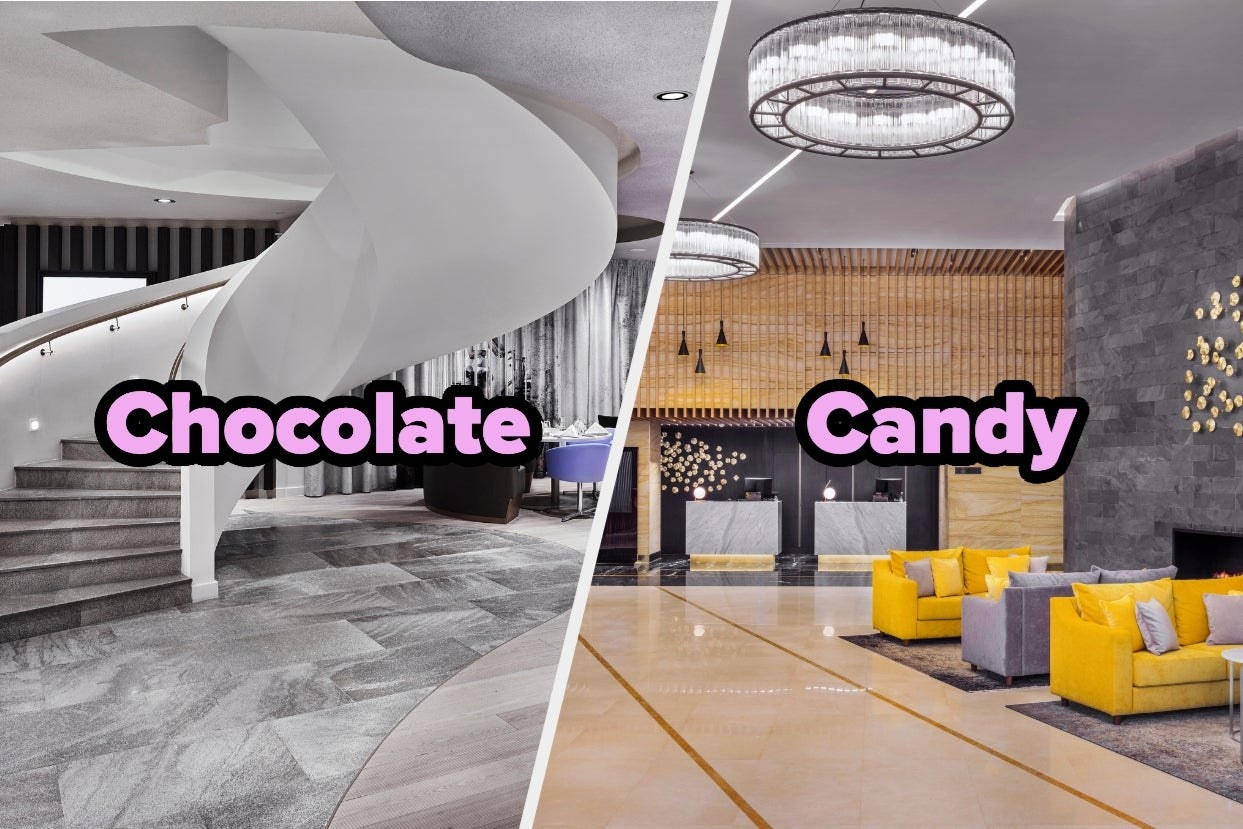 """Modern hotel lobby with word """"chocolate"""" and yellow hotel lobby with word """"candy"""""""