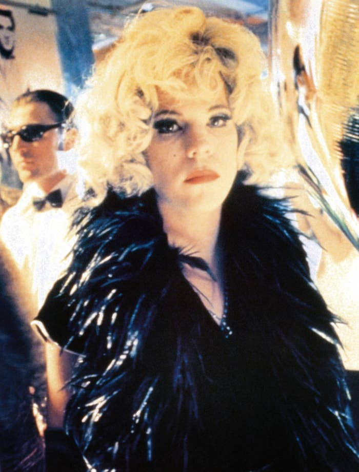 Stephen Dorff in character as Candy Darling in a feather scarf