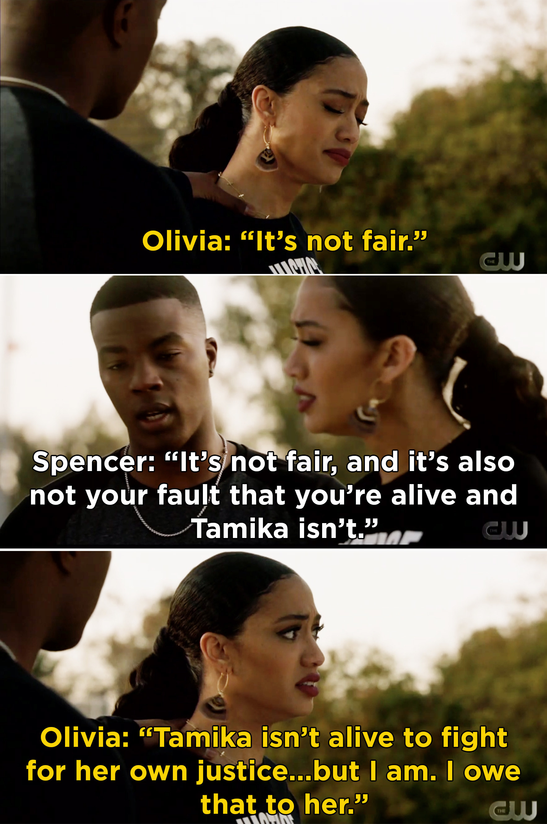 Olivia telling Spencer that she is going to fight for Tamika's justice