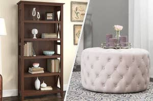 to the left: a bookcase, to the right: a tufted stool table
