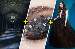 A gothic hallway, galaxy eye makeup, a black deep cut dress