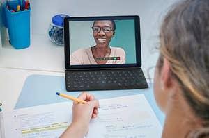 A student in an online class