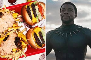 """A side by side photo of a plate of burgers and fries and T'Challa from """"Black Panther"""""""