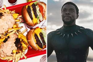 A side by side photo of a plate of burgers and fries and T'Challa from