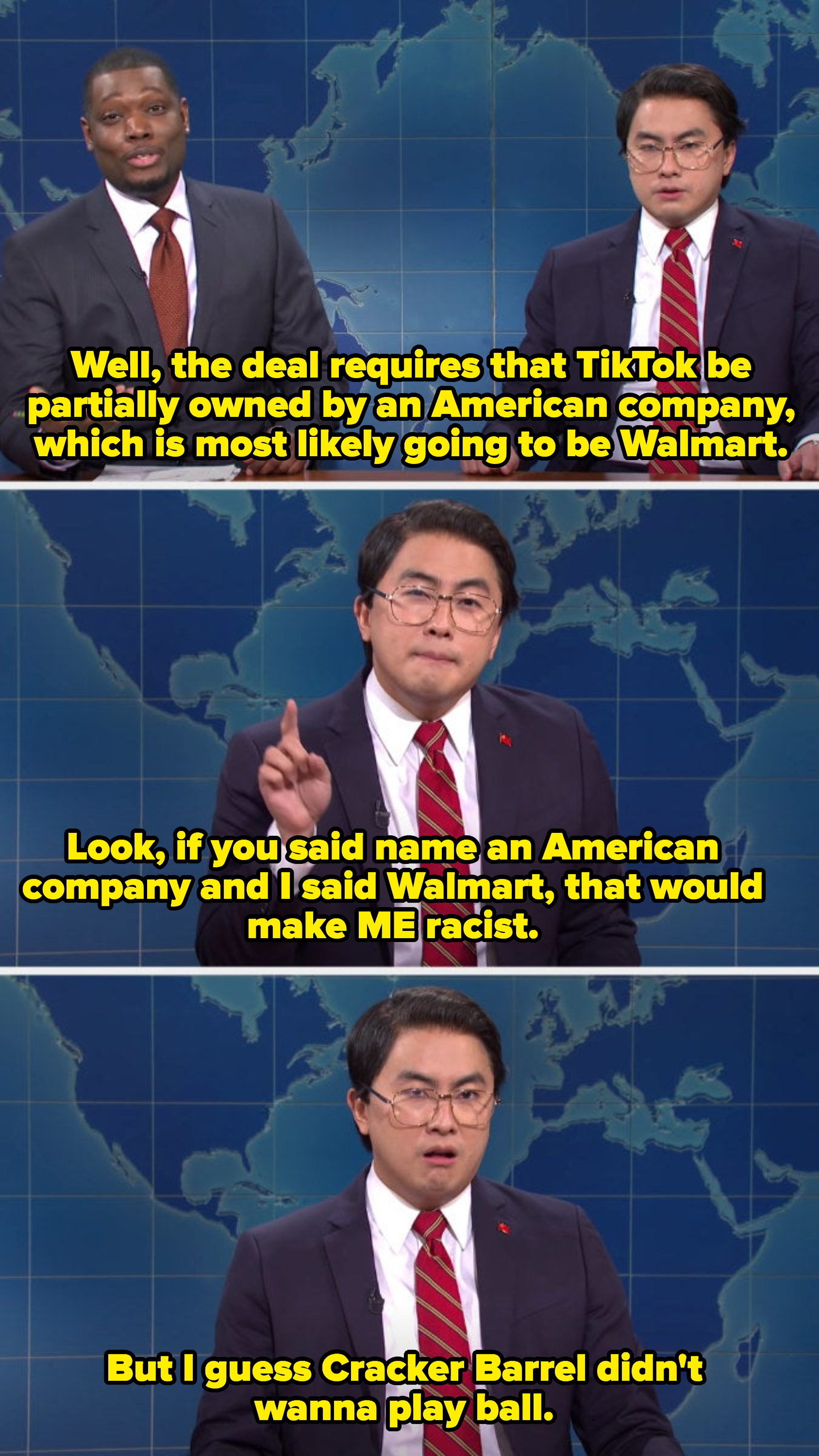 """Biao saying it would be racist of him to say """"Walmart"""" when naming an American company that would buy part of TikTok"""