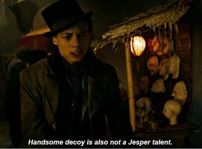 "Jesper walks through a market at night saying ""Handsome decoy is also not a Jesper talent"""