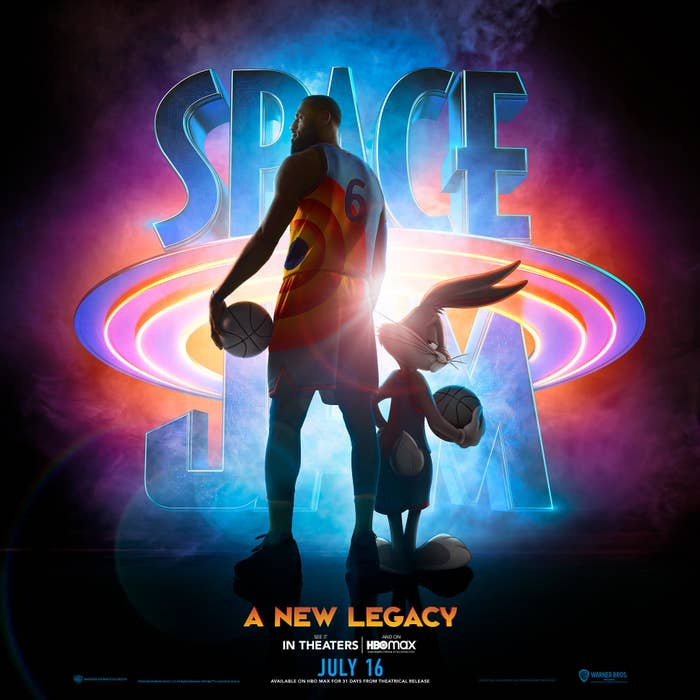 """The Space Jam poster featuring LeBron and Bugs Bunny with the tagline """"A New Legacy"""""""