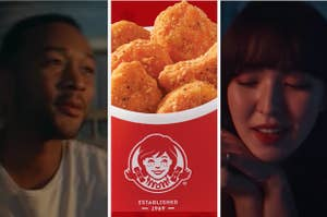 John Legend is on the left with Wendy on the right and a container of Wendy's chicken nuggets in the center
