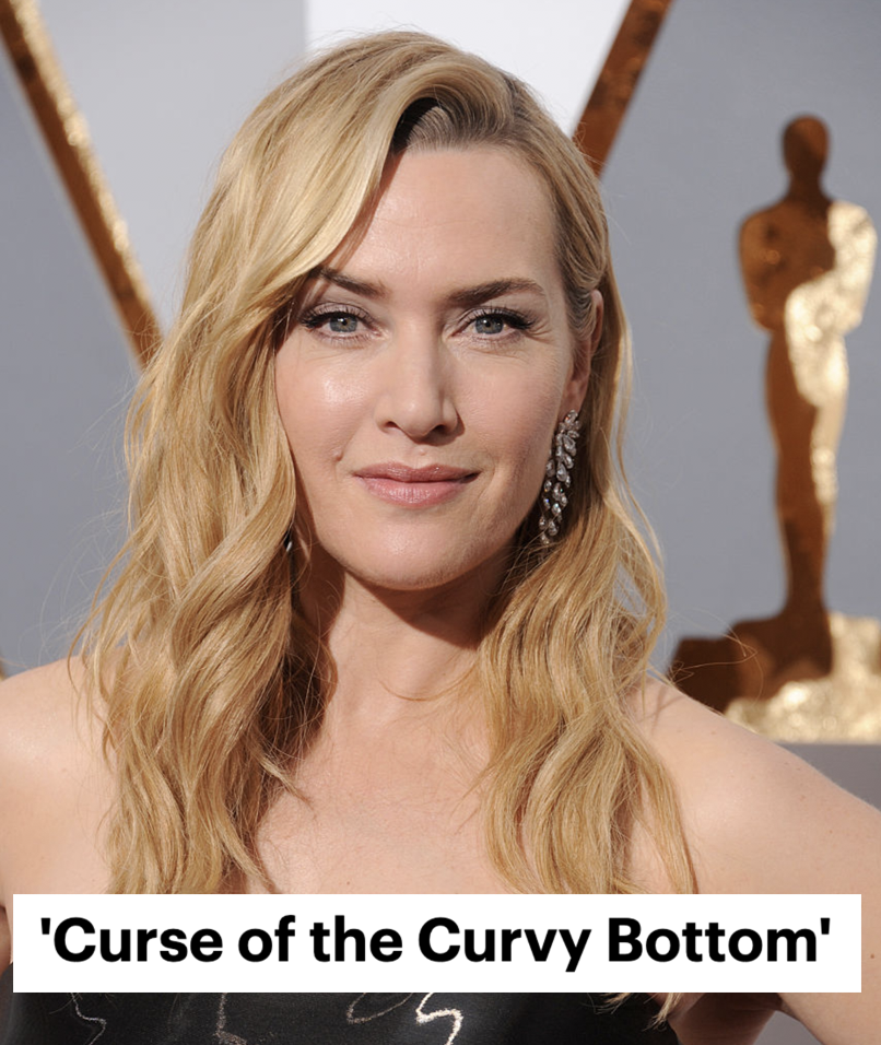 """Kate Winslet grinning and the headline """"Curse of the Curvy Bottom"""""""