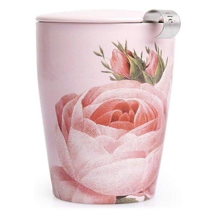 pink tea mug with large pink illustrated rose bloom print