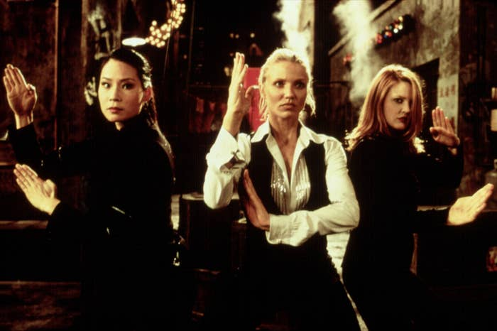 Lucy Liu, Cameron Diaz, and Drew Barrymore get ready to fight in Charlie's Angels