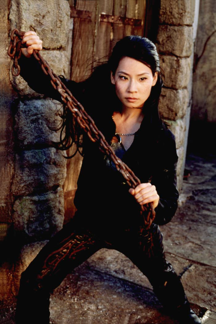 Liu brandishes a chain in Charlie's Angels